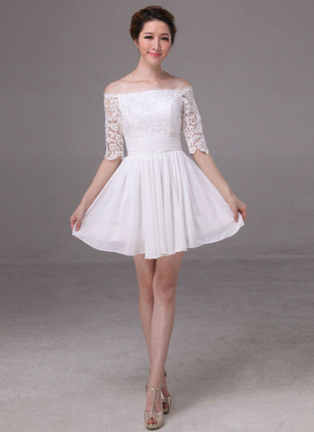 Off-Shoulder White Lace Chiffon Mini Dress with Ruched Waist Yoke RD317