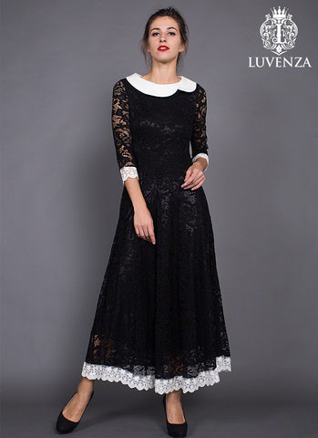 Retro A Line Silhouette Black Lace Maxi Dress with White Lace Trim