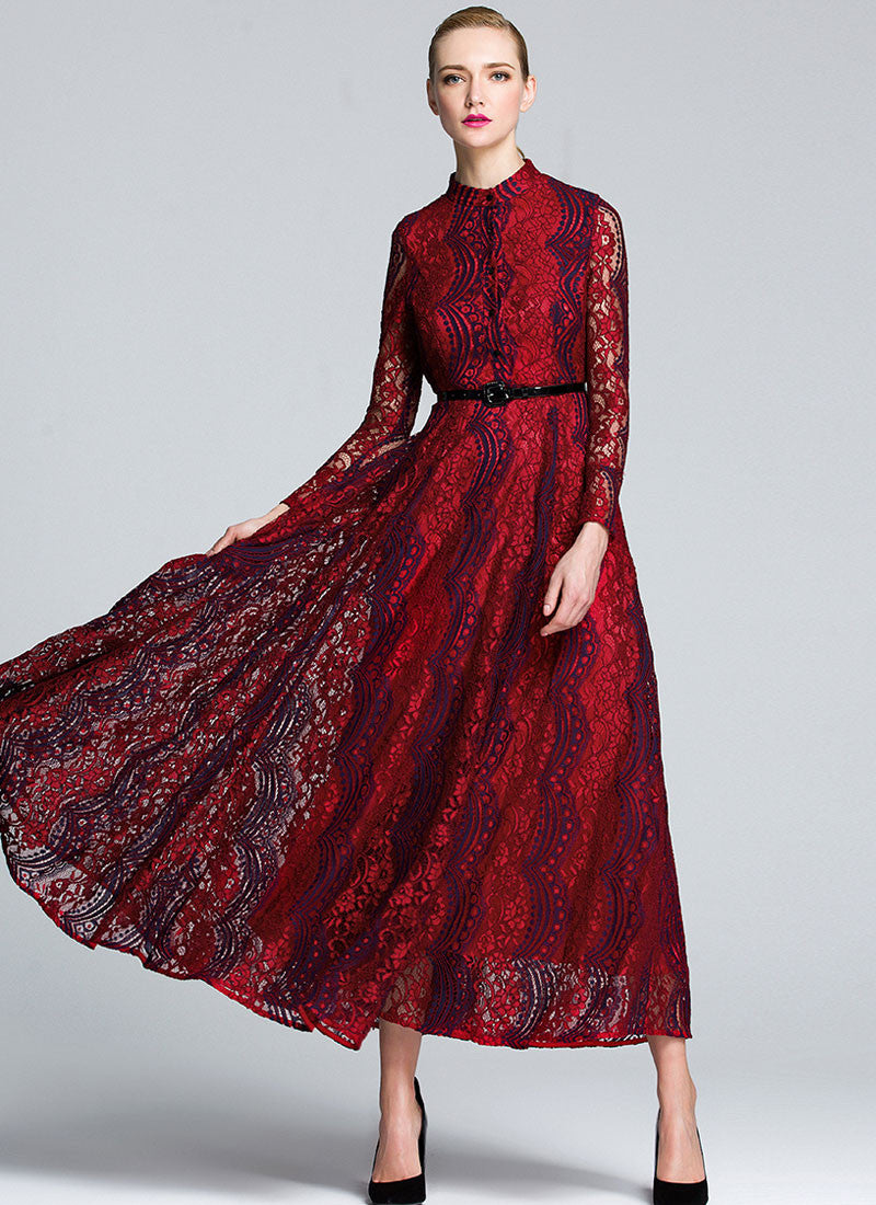 2864a6c4004 Red Lace Maxi Dress with Stand Collar and Dark Blue Details MX51 ...