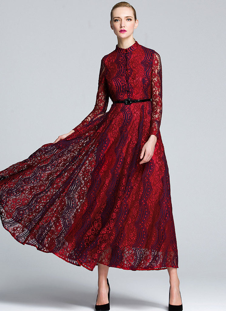 Red Lace Maxi Dress with Stand Collar and Dark Blue Details