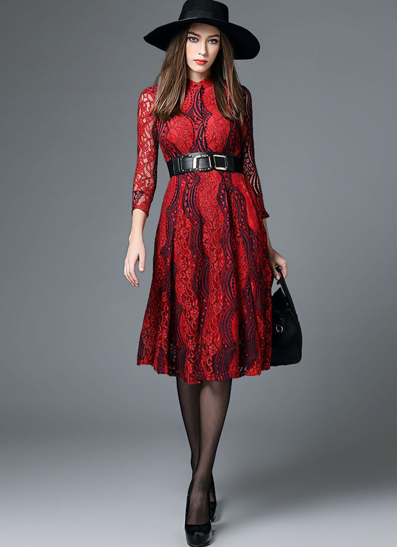 Contrast Colored Red Lace Midi Dress With Shirt Top And Three