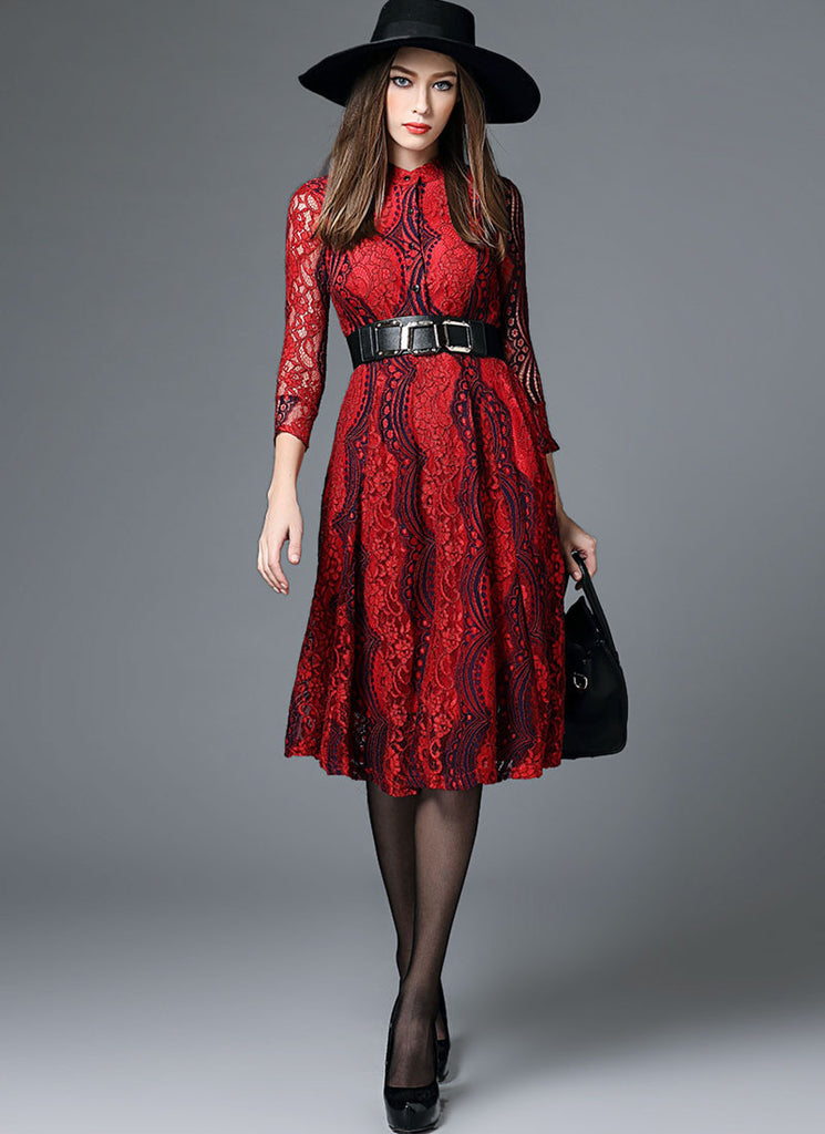 Contrast Colored Red Lace Midi Dress with Shirt Top and Three Quarter Sleeves