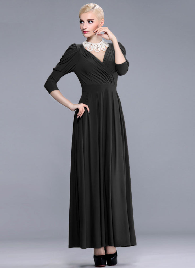 V Neck Black Maxi Dress with Bishop Sleeves