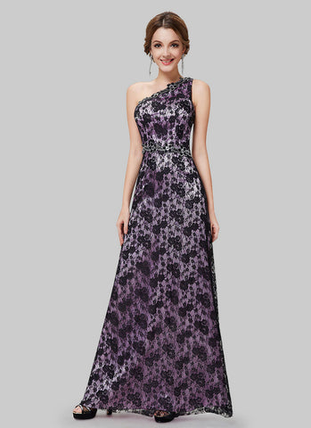 One Shoulder Black Lace Evening Gown with Purple Lining and Cabochon Embellishment RM491