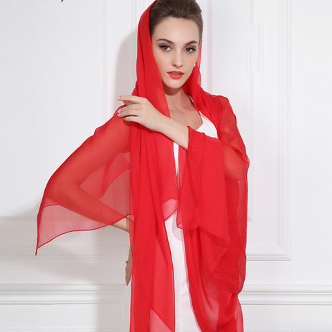 True Red Silk Chiffon Scarf - Red Silk Scarf - Large Silk Shaw - SS47