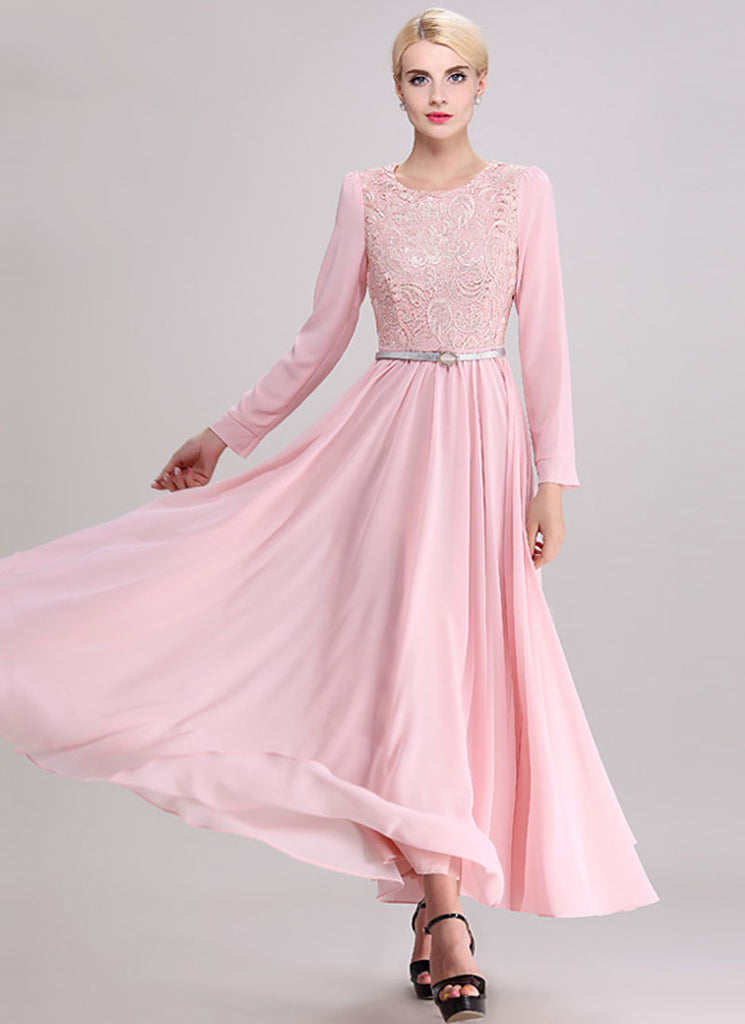 Long Sleeve Pink Lace Chiffon Maxi Dress