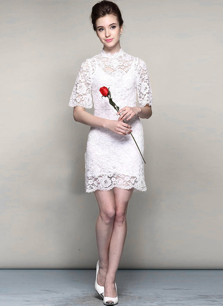 White Lace Min Dress with Stand Collar and Eyelash Details