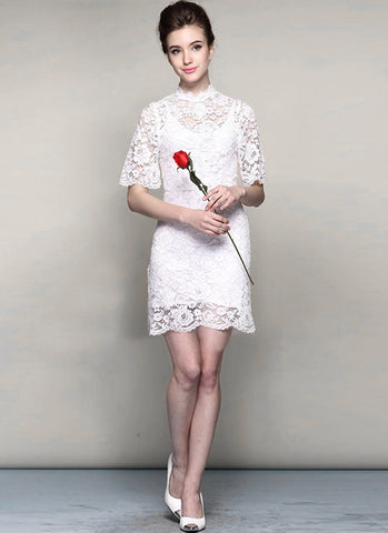 White Lace Min Dress with Stand Collar and Eyelash Details RD388