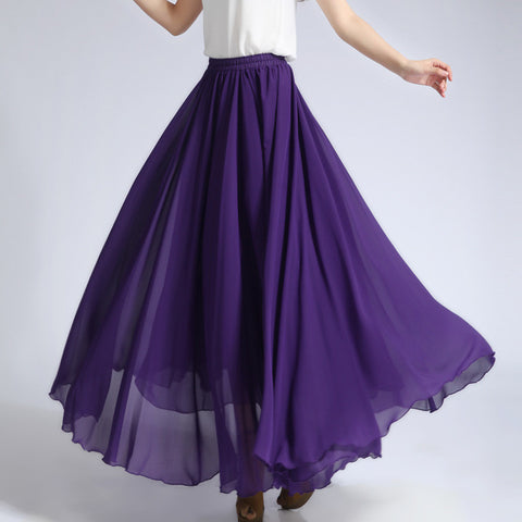 Dark Slate Blue Chiffon Maxi Skirt with Extra Wide Hem - Long Blue Violet Chiffon Skirt - SK5g