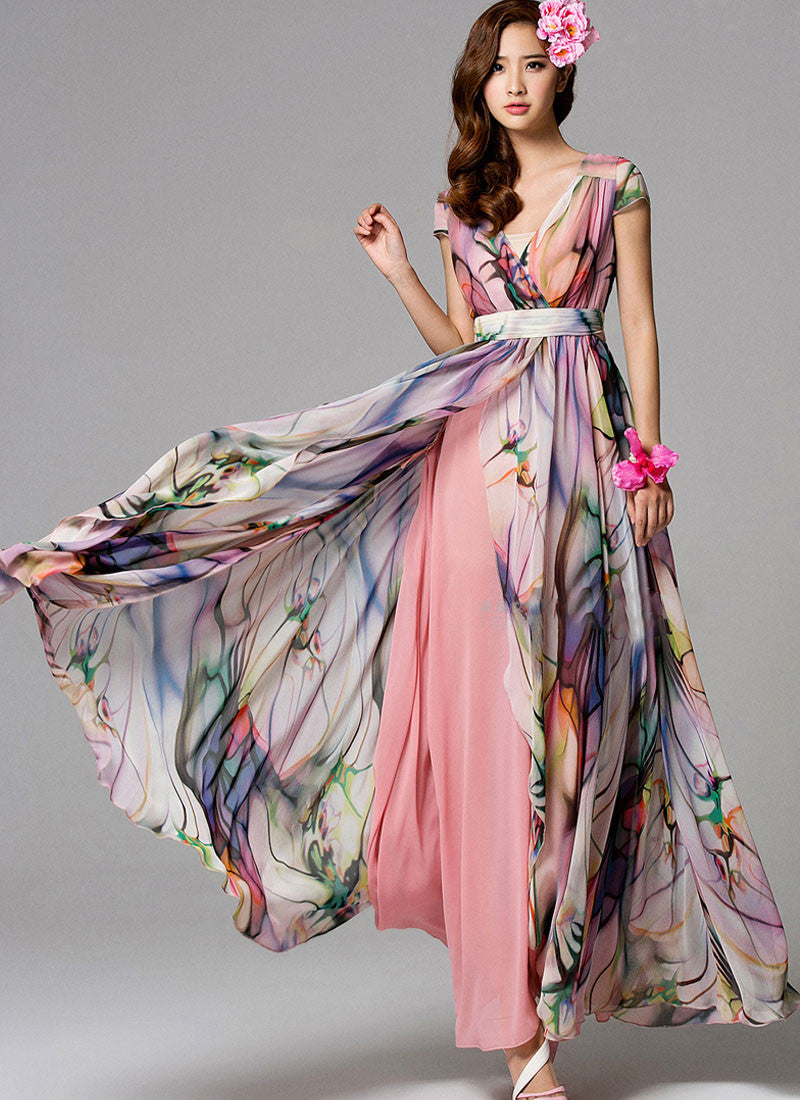 V Neck Floral Maxi Dress With Dusty Rose Pink Lining And Cap Sleeves