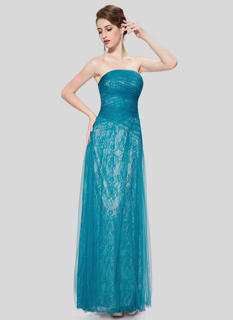 Strapless Dark Turquoise Lace Evening Dress with Tulle Overlay