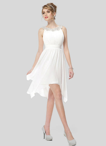 White Asymmetric Mini Dress with Lace Details RD393