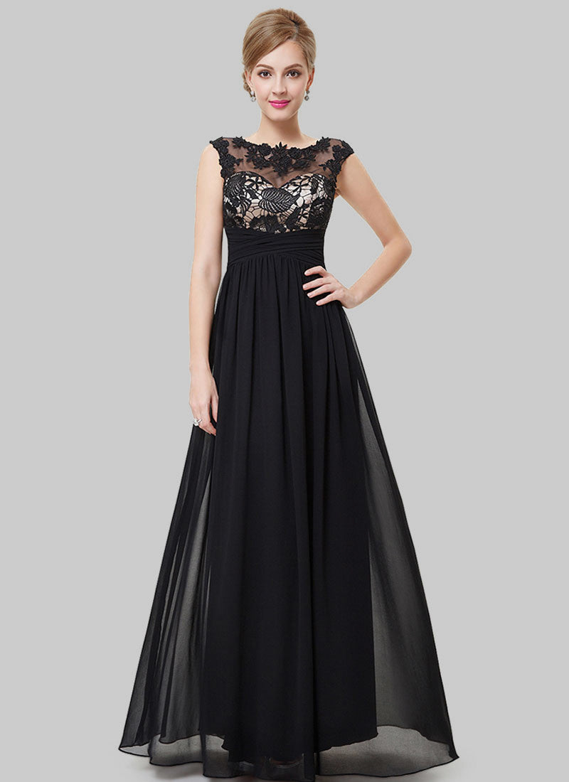 Black Lace Chiffon Evening Gown with Contrast Color Top Lining RM468 ...