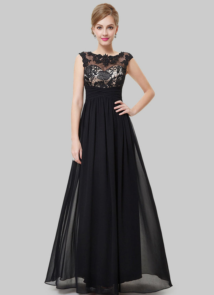 Black Lace Chiffon Evening Gown with Contrast Color Top Lining