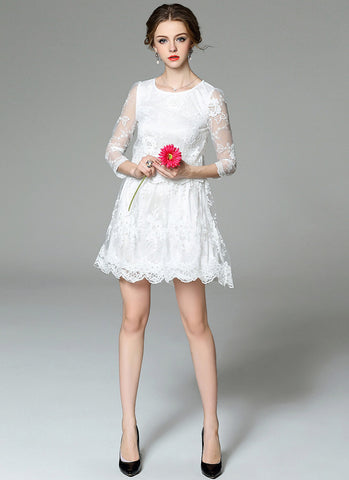 Long Sleeved White Tulle Lace Aline Mini Dress with Scalloped Hem MN91