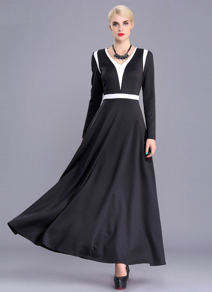 Contrast Colored Black Maxi Dress with White Panel Insertion