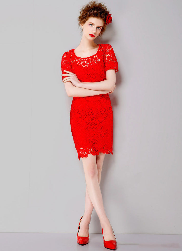 Red Lace Sheath Mini Dress with Floral Scalloped Hem