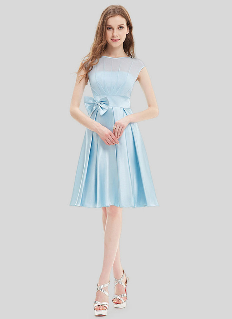 Light Blue Chiffon Satin Mini Dress with Bow Tie Belt and Keyhole Back