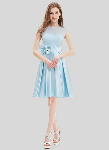 Light Blue Chiffon Satin Mini Dress with Bow Tie Belt and Keyhole Back MN104