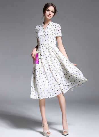 Tropical Print White Floral Chiffon Midi Dress with Shirt Top MD6