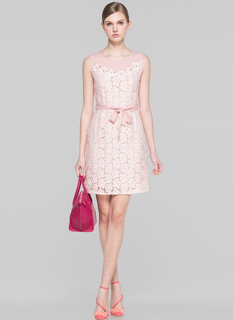 Light Rosy Pink Lace Organza Sheath Mini Dress