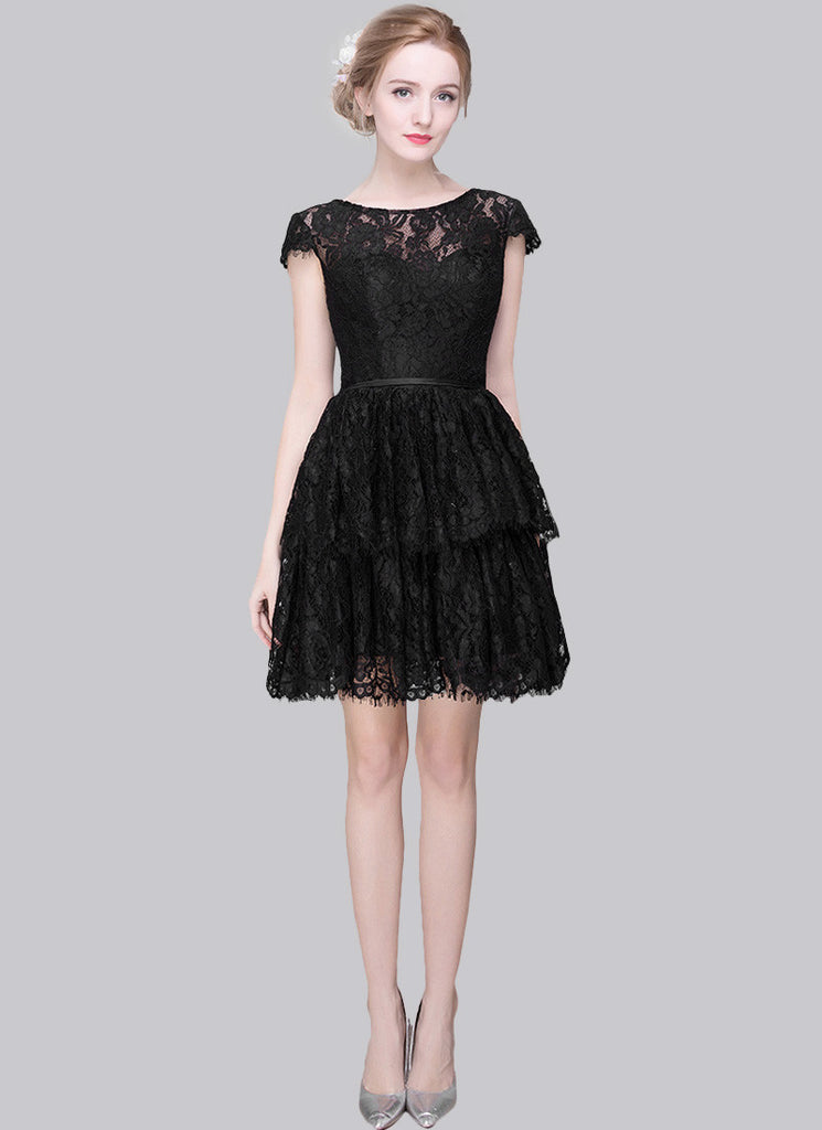 Little Black Dress Black Lace Mini Dress with Layered Scalloped Skirt and Cap Sleeves