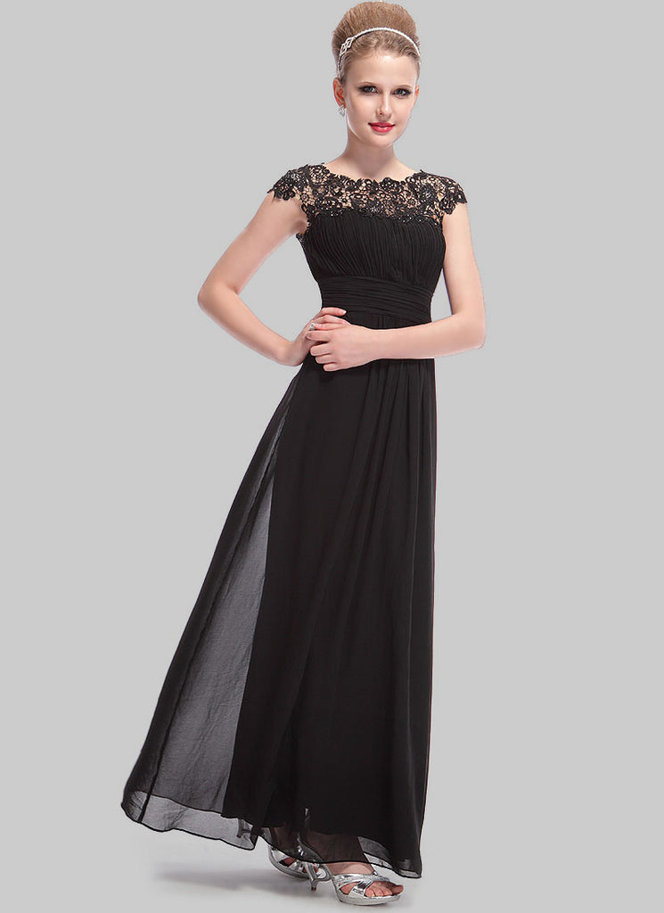 Embellished Open Back Black Lace Chiffon Evening Gown
