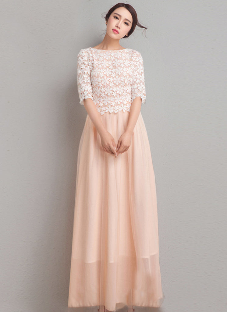 Nude Pink Chiffon Maxi Dress with White Floral Lace Top and Half Sleeves