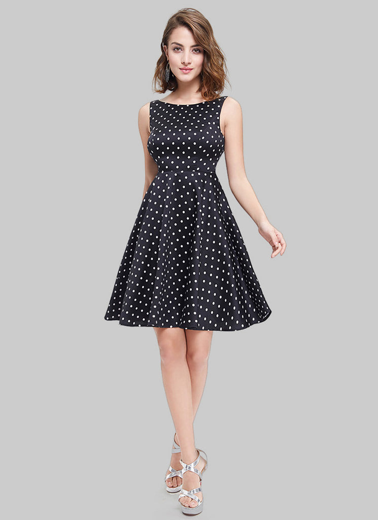 Sleeveless Black Polka Dot Aline Mini Dress with Deep V Back