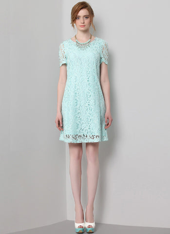 Short Sleeved Pale Turquoise Lace Aline Mini Dress MN85