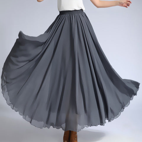 Dark Gray Chiffon Maxi Skirt with Extra Wide Hem - Long Grey Chiffon Skirt - SK5b