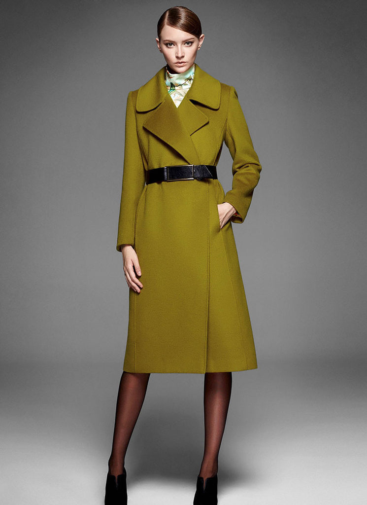 Olive Cashmere Wool Coat with Large Collar and Lapel