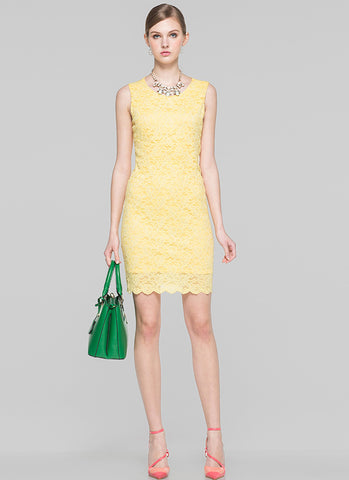 Sleeveless Yellow Lace Sheath Dress with Scalloped Hem MN79