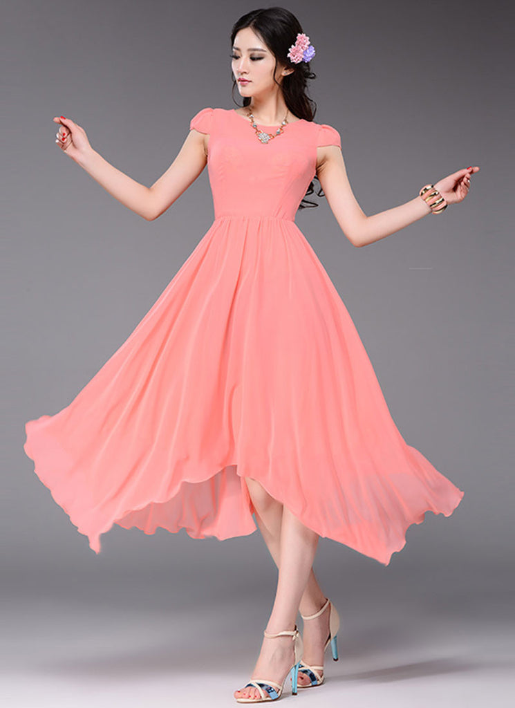 Asymmetric Coral Midi Dress with Cap Sleeves