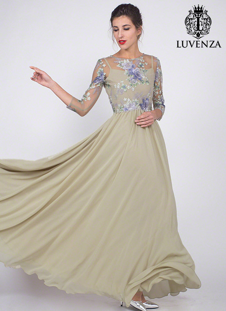 Light Green Floral Embroidered Tulle Chiffon Evening Dress with Peplum Waist