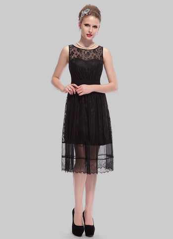 Black Lace Mini Dress with Eyelash Details RD405