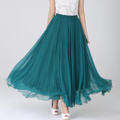 Teal Chiffon Maxi Skirt with Extra Wide Hem - Long Teal Chiffon Skirt - SK1a