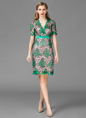 V Neck Green Embroidered Lace Sheath Mini Dress with Surplice Top and Asymmetric Scalloped Hem MN38