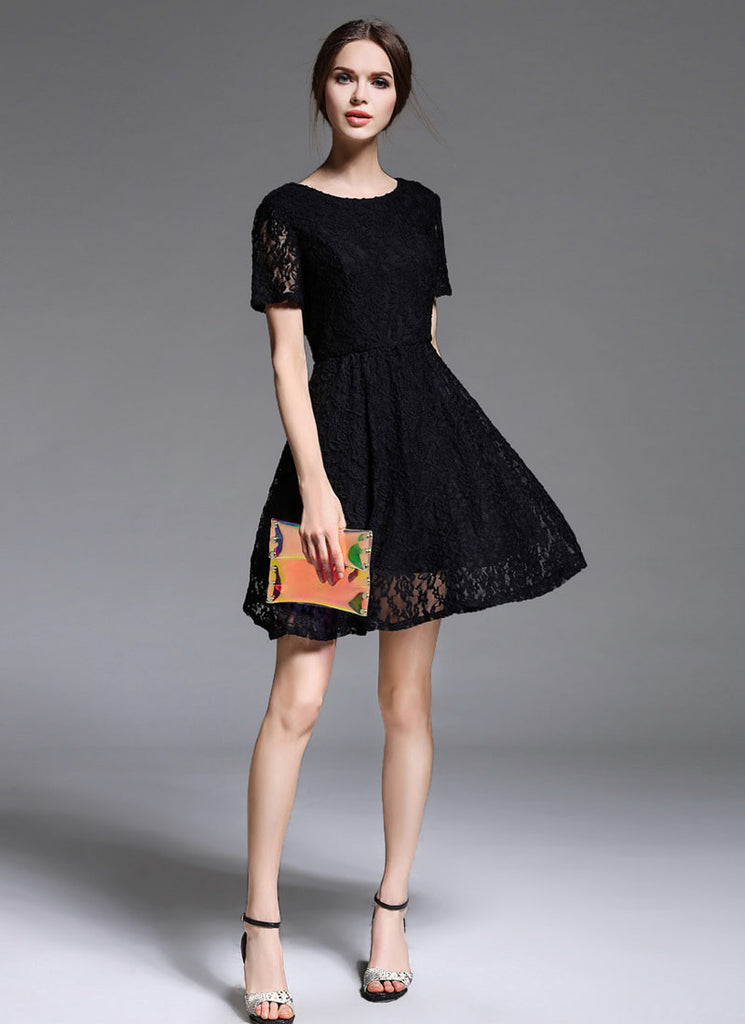 V Back Black Lace Mini Fit and Flare Dress with Short Sleeves