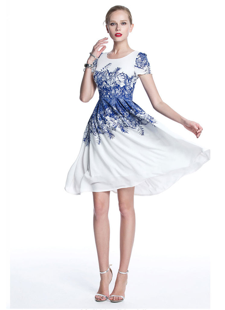 White Chiffon Mini Fit and Flare Dress with Blue Floral Print from Bust to Hips