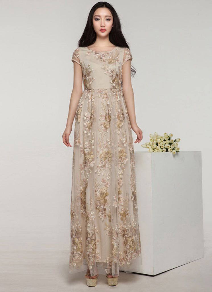 Floral Embroidered Champaign Maxi Dress with Rhinestone Embellishment