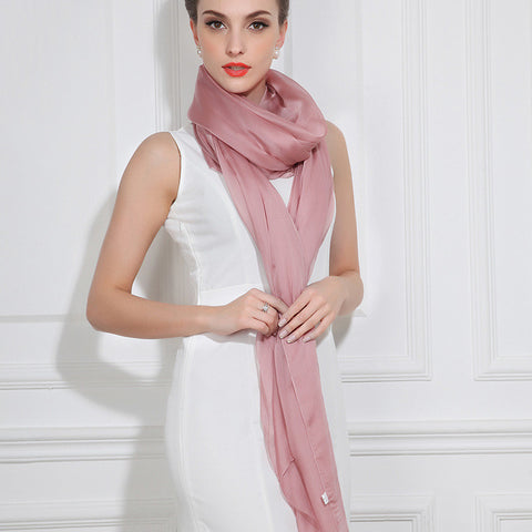 Rosy Brown Silk Chiffon Scarf - Pale Violet Pink Silk Scarf - Large Silk Shaw - SS33