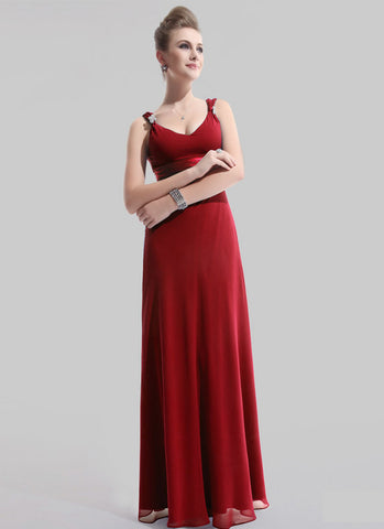 Empire Waisted Wine Red Maxi Dress with V Neck and V Back RM470