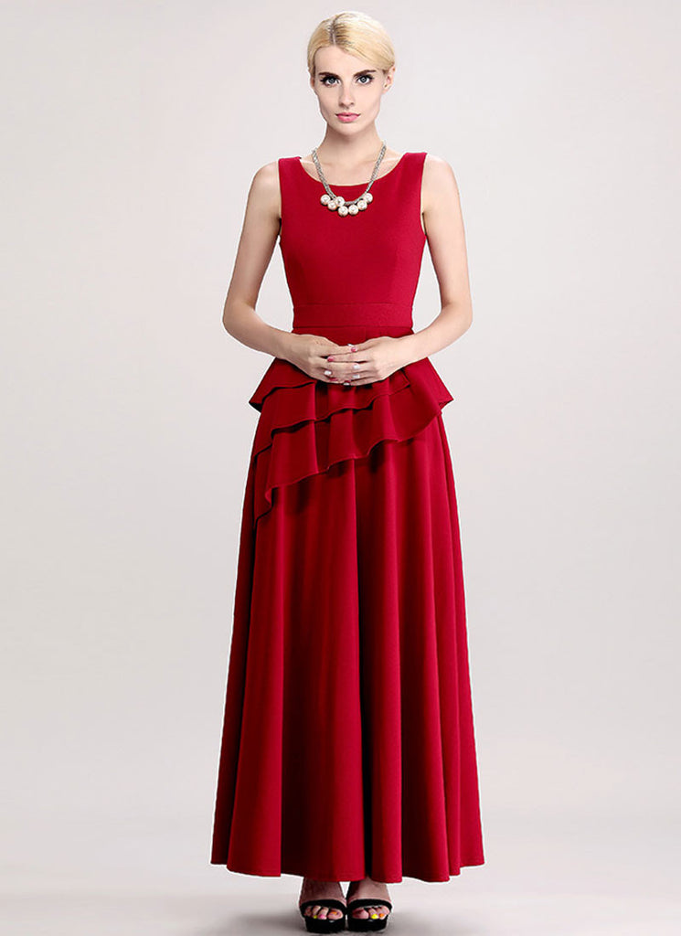 Wine Red Maxi Dress with Asymmetric Multi Layered Peplum