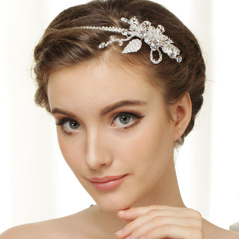 Hand Wired Bridal Headpiece - Crystal Wreath with Floral Pattern - Crystal Bridal Halo HP7