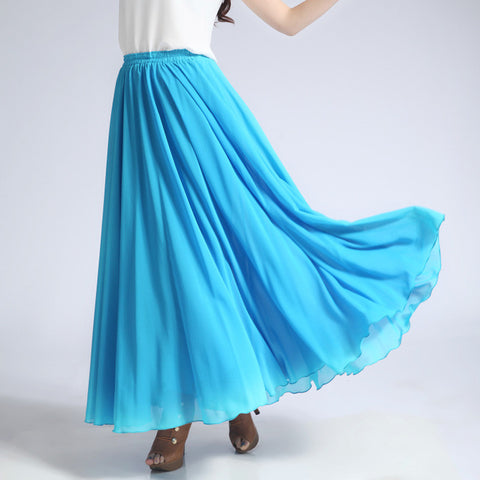 Deep Sky Blue Chiffon Maxi Skirt with Extra Wide Hem - Long Aqua Chiffon Skirt - SK5d