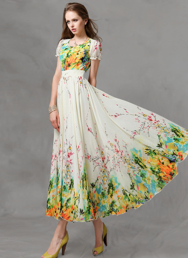 Yellow Floral Maxi Dress with Short Sleeves