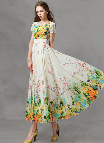 Yellow Floral Maxi Dress with Short Sleeves MX37