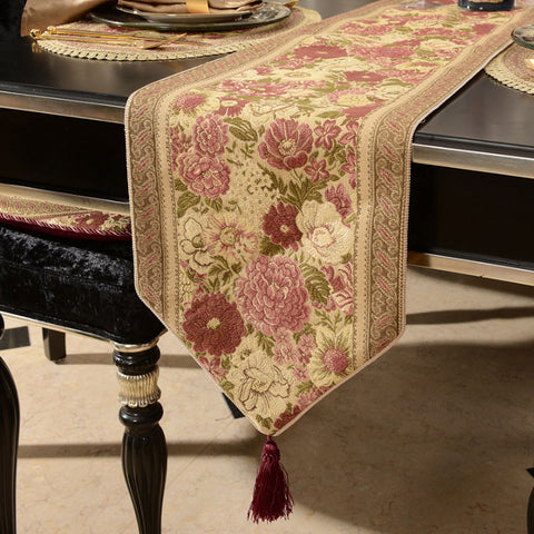 Retro Style Table Runner with Braided Piping Detail and Maroon Fringes TR17