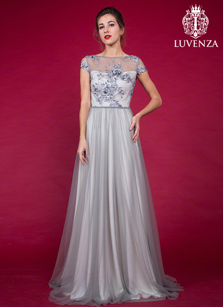 Cap Sleeved Floor Length Tulle Grey Prom Dress with Rhinestone Embellishment